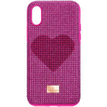 Swarovski Crystalgram iPhone® X/XS:Telefon Hátlap Pink Heart