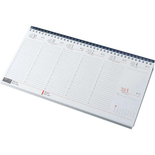 Realsystem Fekvő asztali naptár, fehér papír, 2021 - Kék