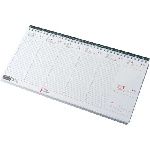 Realsystem Fekvő asztali naptár, fehér papír, 2021 - Zöld