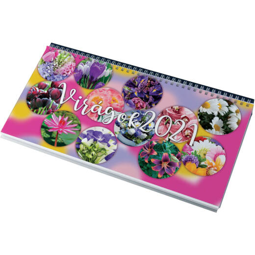 Realsystem Képes asztali naptár, Virágok, 2021 - Zöld